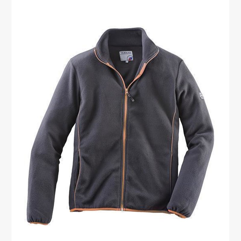 TERRAX Herren FLEECE-Jacke schwarz-orange